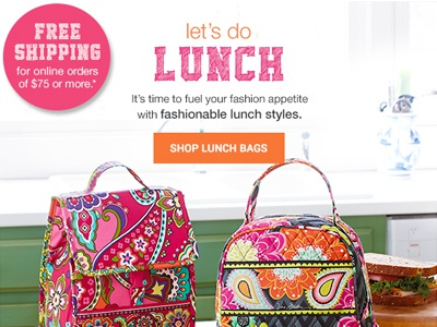 Email - Lunch Bag Feature - 07/09/14 email design back to school back to campus email vera bradley html lunch