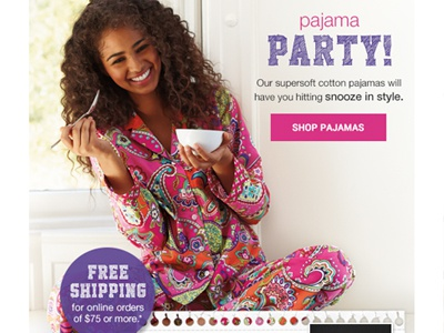 Email - Pajama Feature - 07/10/14 email html design vera bradley back to campus back to school email design web layout