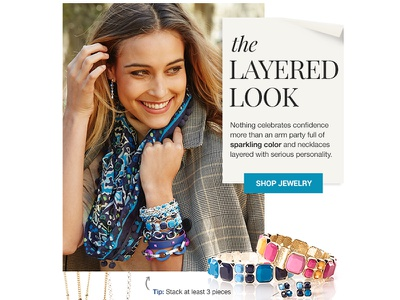 the Layered Look - Jewelry Feature Email email html jewelry fashion scarf fall bracelet earrings necklace vera bradley email design