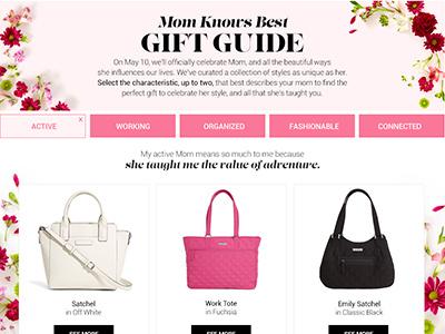 Mother's Day Gift Finder html css sort web flowers floral gift finder gift guide mothers day vera bradley