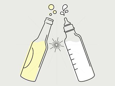 Cheers! baby shower baby bottle clink drinks cheers party invitation invite bottle milk beer baby