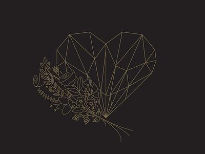 Wedding logo art deco geometric floral line art icon vector low poly hand drawn heart flowers wedding logo