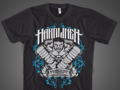 Hardliner t-shirt design logo lettering and illustration