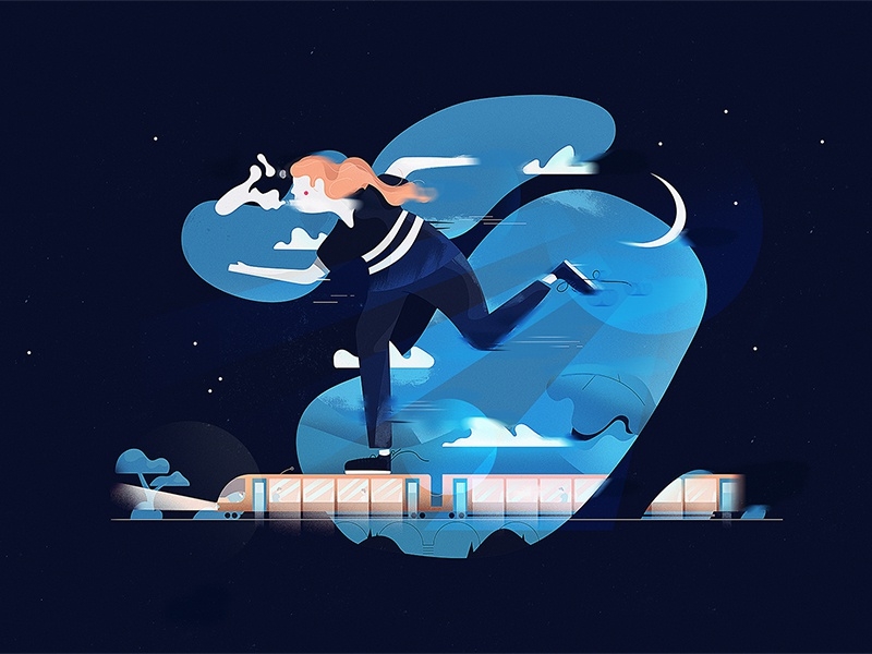 Big Commute shape motion sky print night moon dark graphic drawing illustration colour design