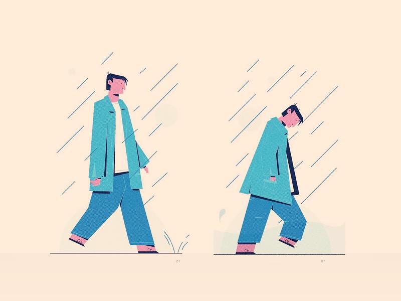 Walk blue person character wet rain walk