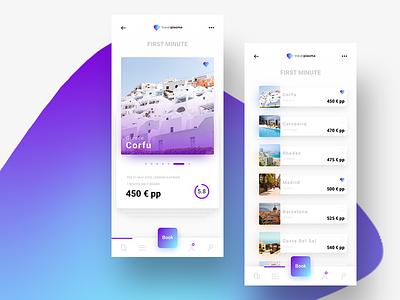 TravelPlasma mobile app iphonex gradient travel aquamarine purple ux ui