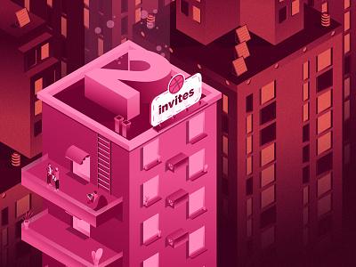 2 invites! city pink draft prospects dribbble 3d isometric illustration invite two