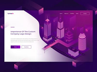 Isometric City web page landing violet design builds city ux ui illustration isometric