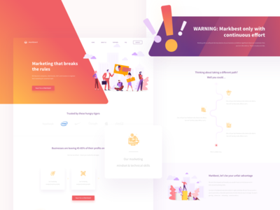 Landing page for marketing company