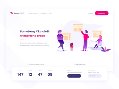 Career EXPO - One Page 🔥🙈🇵🇱 work job expo fair shadow clean flat design ux ui illustrations