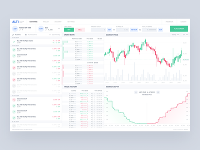 Alti Exchange Trader - Light Mode 🍷📊 data wallet exchange currency web chart trader design clean alti pixel perfect ux ui light mode wine crypto exchange crypto blockchain