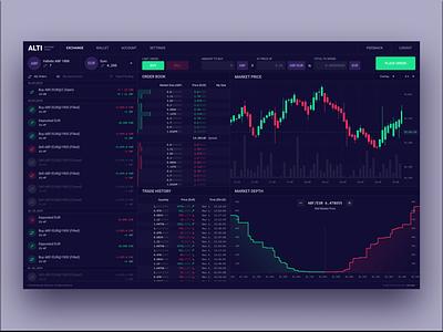 Alti Exchange Trader - Dark Mode 🖤🍷📊 coin panel dashboard chart trade wine exchange crypto blockchain pixel perfect data dark mode clean web design ux ui