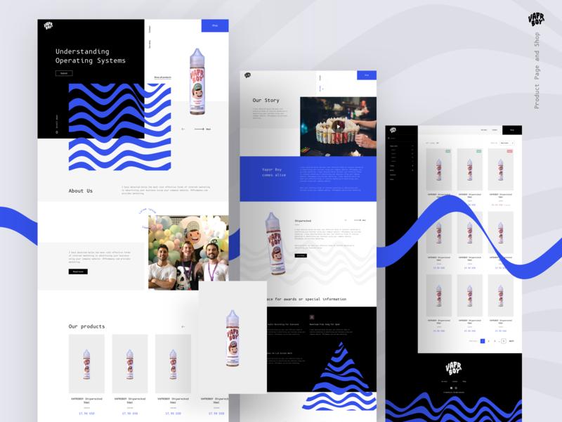VaprBoy - Product and Shop Page 💨🚬 monospace typography e-commerce gr1nd product black blue branding wave vapor shop page clean logo modern landing design web ux ui