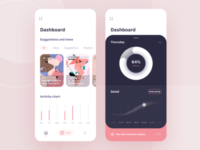 Chill App 🛋💆‍♂️ flat mobile news chart dashboard relax yoga app meditation pink vector modern clean illustration design ux ui
