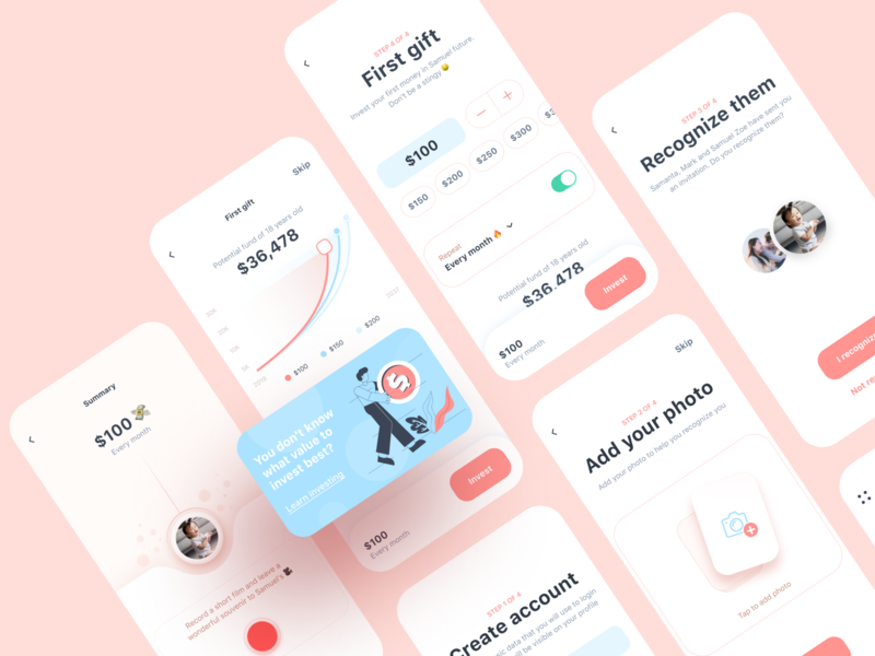 Investing app 💸 kids feature ios signup wizard steps flow future mobile app fintech investing banking product flat clean illustration design ux ui