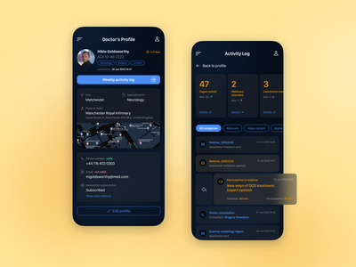 Medicircle dark mode dark theme dashboad pharmaceutical medical care medical medicine activity tracker ux design user profile kpi timeline mobile app mobile design product design ui design