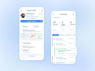 Medicircle light theme medical pharmaceutical user profile light theme ux ui activity tracker mobile design mobile app product design