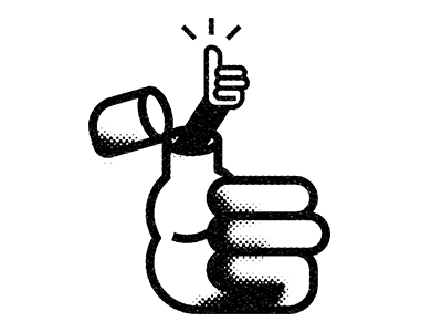 Thumbs Up! hand social media icon black and white texture design retro halftone thumb illustration