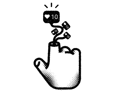 Love Tap hand finger black and white social media texture retro illustration icon halftone design
