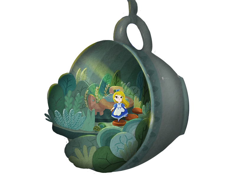 Alice in Mad Tea Party scene. storytelling art digital painting drawing first illustration