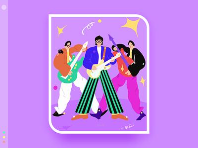 My favorite band series 2 color band design flat illustration