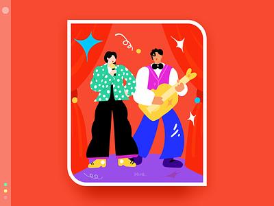 My favorite band series 3 band red color flat design illustration