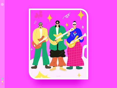 My favorite band series 4 band color flat design illustration
