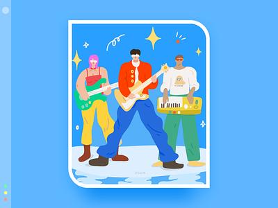 My favorite band series 5 blue color flat design illustration