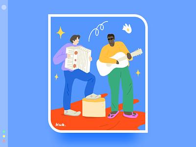 My favorite band series 6 blue band color flat design illustration