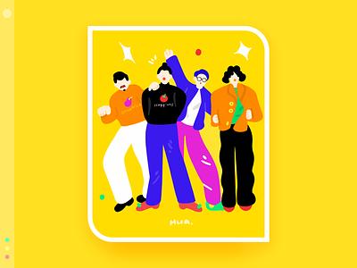 My favorite band series 8 band emotion flat design illustration