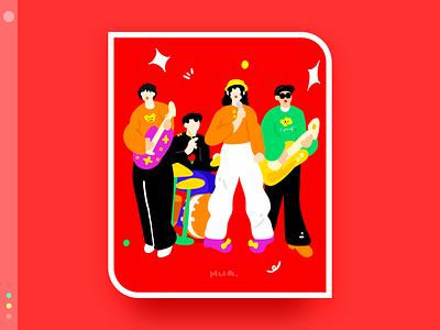 My favorite band series 9 red band flat design illustration