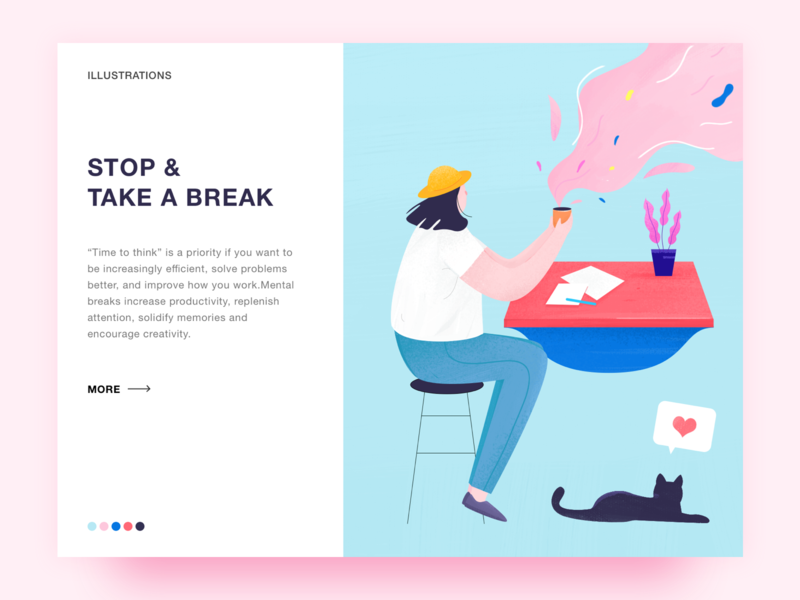 Daily exercise 014- Take a break web rest design flat ui