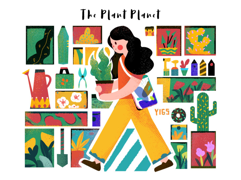 Daily exercise 018-The plant planet plant design flat illustration