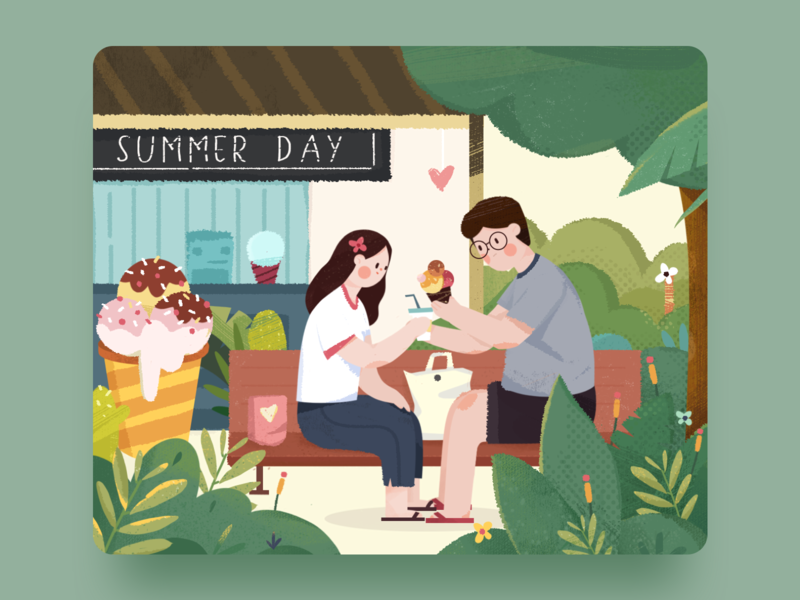 Summer Day web green love couple summer illustration flat