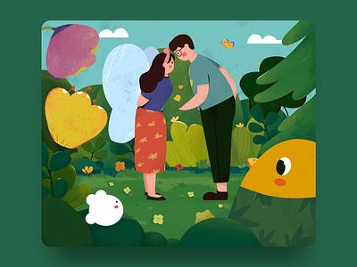 Spring spring couple emotion design illustration