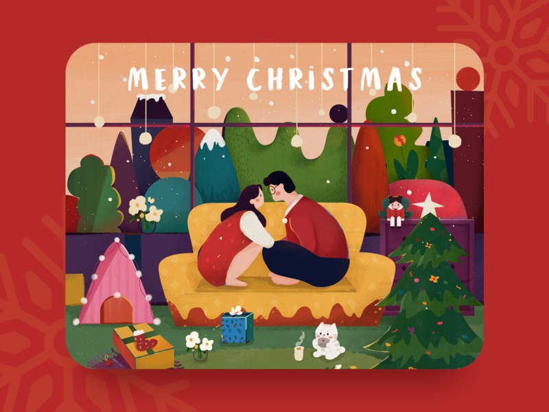 Merry Christmas couple design illustration merry christmas merrychristmas