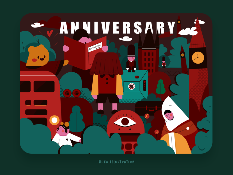 Anniversary  DWTD green color merry christmas merrychristmas anniversary emotion design flat illustration