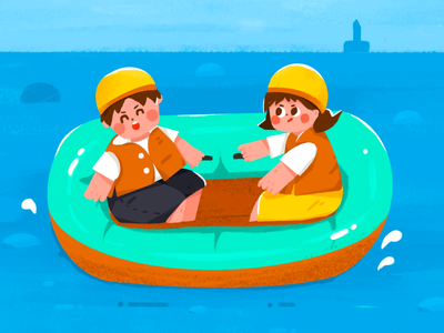 Guilin blue river couple color illustration flat