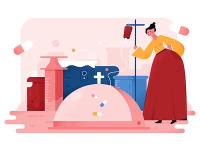 Medicine girl pink design emotion ui flat illustration medicine