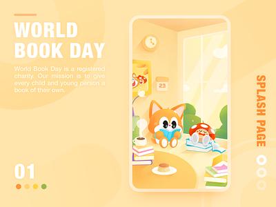 World Book Day flat branding world book day cute color app emotion ui illustration