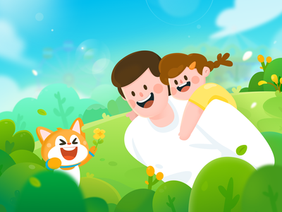 Father's day greens family face girl color emotion design flat illustration father fathers day