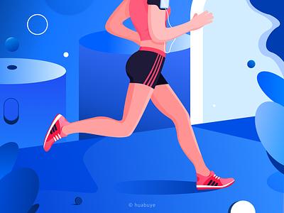 running running ui blue color design flat illustration