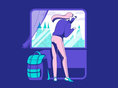 Girl travel by train