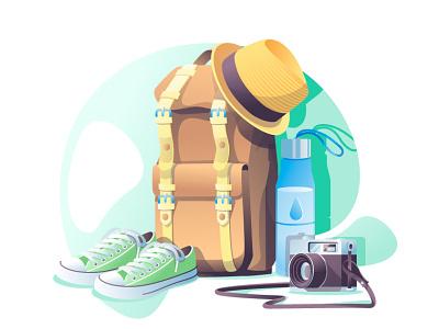 travel2 walk keds objects flatdesign vacation camera fotocam bottle adventure backpack city guide hathaway travel blue art vector art illustration