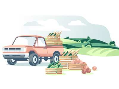 Agriculture harvest landscape isolated lifestyle traditional car truck vehicle delivery field harvest agriculture transport abstract flat ui design vector illustration vector artwork vector art illustration