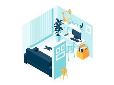 Isometric interior home office room vector illustration table objects sweethome work cabinet house home office room interior isometric illustraiton flat design vector illustration vector art vector illustration