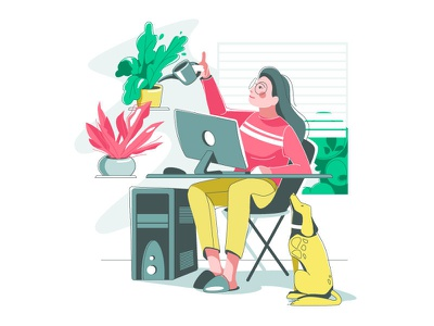 Work from home character woman girl dog pet room comfortable sweethome indoors workspace workplace workfrome homeoffice lockdown flat vector illustration vector art art illustration