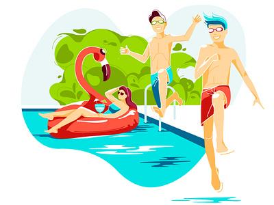 summer pool lifestyle summertime jump joy restaurant pool summer mood character flat blue ui design vector illustration vector art vector illustration