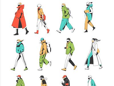 characters walking people vector art illustration health care go global girl flat face mask epidemic coronavirus collection character cartoon
