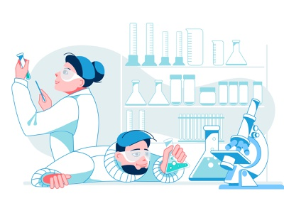 laboratory professional equipment research interior science characters laboratory design vector illustration